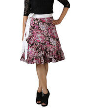 DeeVineeTi Women's Crepe Multicolor Ruffle Paisley Printed Wrap-Around Skirt WA000173 Freesize Short