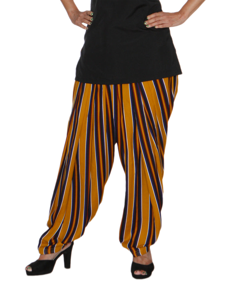 DeeVineeTi Women's Crepe Multicolored Striped Printed FreeSize Patiala Salwar DVSR0017 Front