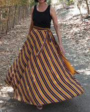 DeeVineeTi Women's Crepe Mustard Striped Printed Wrap-Around Skirt WA000214 FreeSize Yellow Maxi Full Circle Front2