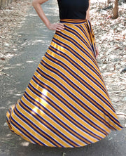 DeeVineeTi Women's Crepe Mustard Striped Printed Wrap-Around Skirt WA000214 FreeSize Yellow Maxi Full Circle Front3