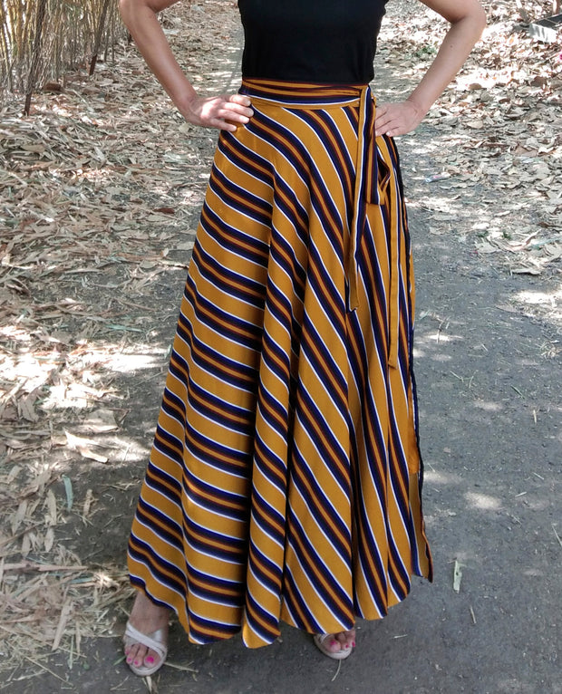 DeeVineeTi Women's Crepe Mustard Striped Printed Wrap-Around Skirt WA000214 FreeSize Yellow Maxi Full Circle Front4