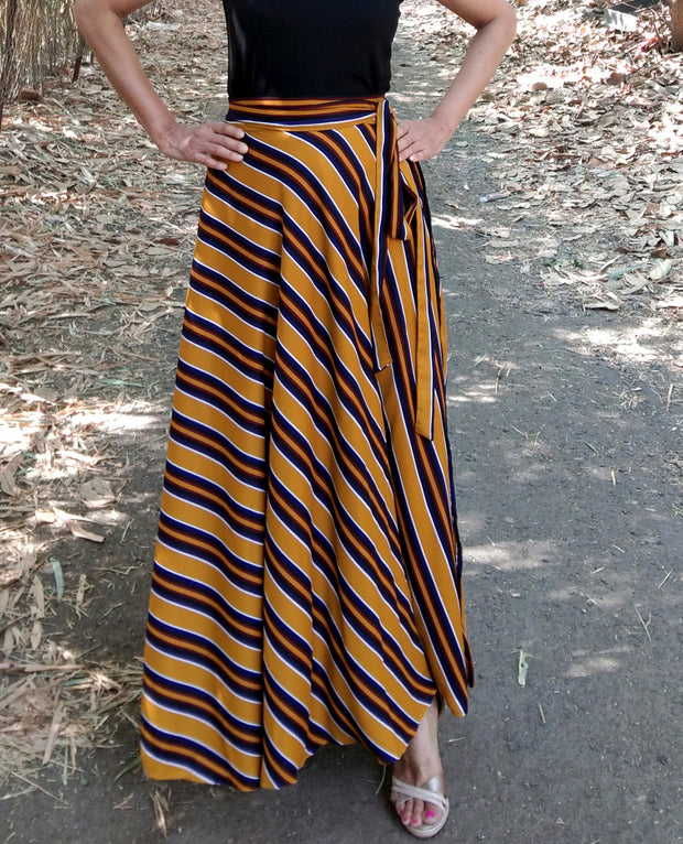 DeeVineeTi Women's Crepe Mustard Striped Printed Wrap-Around Skirt WA000214 FreeSize Yellow Maxi Full Circle Front5
