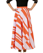 DeeVineeTi Women's Crepe Orange White Striped Printed Maxi Wrap-Around Skirt WA000147 Freesize Back