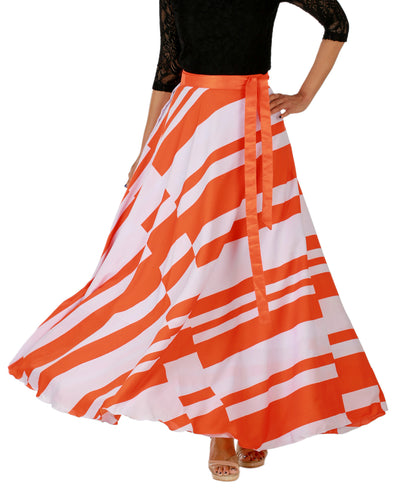 DeeVineeTi Women's Crepe Orange White Striped Printed Maxi Wrap-Around Skirt WA000147 Freesize Front