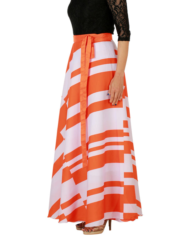 DeeVineeTi Women's Crepe Orange White Striped Printed Maxi Wrap-Around Skirt WA000147 Freesize Left