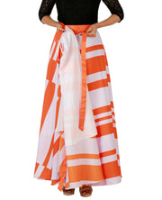 DeeVineeTi Women's Crepe Orange White Striped Printed Maxi Wrap-Around Skirt WA000147 Freesize Lined