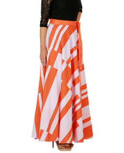 DeeVineeTi Women's Crepe Orange White Striped Printed Maxi Wrap-Around Skirt WA000147 Freesize Right
