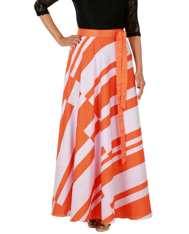 DeeVineeTi Women's Crepe Orange White Striped Printed Maxi Wrap-Around Skirt WA000147 Freesize