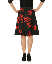 DeeVineeTi Women's Crepe Red Black Floral Printed Wrap-Around Skirt WA000153 Freesize Short Back