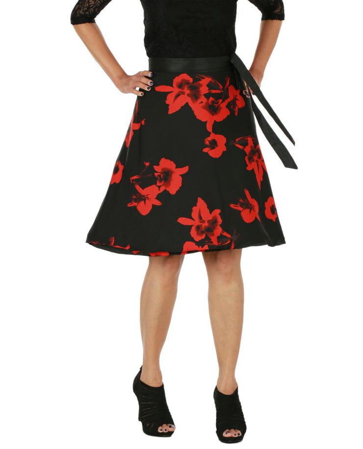 DeeVineeTi Women's Crepe Red Black Floral Printed Wrap-Around Skirt WA000153 Freesize Short Front