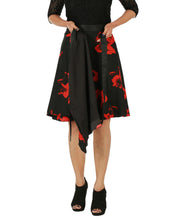 DeeVineeTi Women's Crepe Red Black Floral Printed Wrap-Around Skirt WA000153 Freesize Short Lined