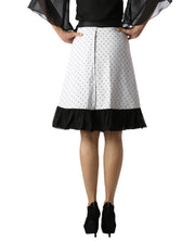 DeeVineeTi Women's Crepe White Printed Ruffle Wrap Around Skirt WA000145 Freesize Knee Length Black Checkered Back