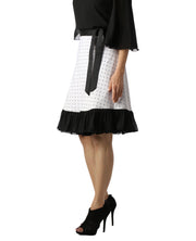 DeeVineeTi Women's Crepe White Printed Ruffle Wrap Around Skirt WA000145 Freesize Knee Length Black Checkered Left