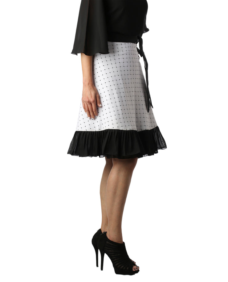 DeeVineeTi Women's Crepe White Printed Ruffle Wrap Around Skirt WA000145 Freesize Knee Length Black Checkered Right