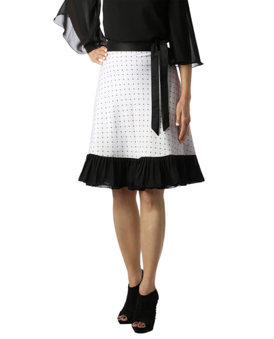 DeeVineeTi Women's Crepe White Printed Ruffle Wrap Around Skirt WA000145 Freesize Knee Length Black Checkered