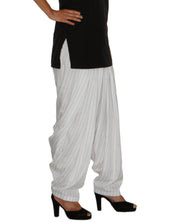 DeeVineeTi Women's Crepe White Striped Printed FreeSize Patiala Salwar DVSR0026 Right