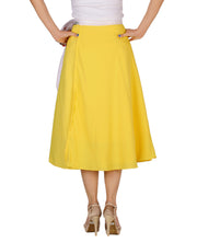 DeeVineeTi Women's Crepe Yellow Solid Beach Wrap-Around Skirt WA000168 Freesize Mid-Calf Back