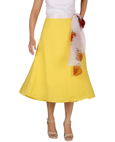 DeeVineeTi Women's Crepe Yellow Solid Beach Wrap-Around Skirt WA000168 Freesize Mid-Calf Front