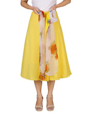 DeeVineeTi Women's Crepe Yellow Solid Beach Wrap-Around Skirt WA000168 Freesize Mid-Calf Lined