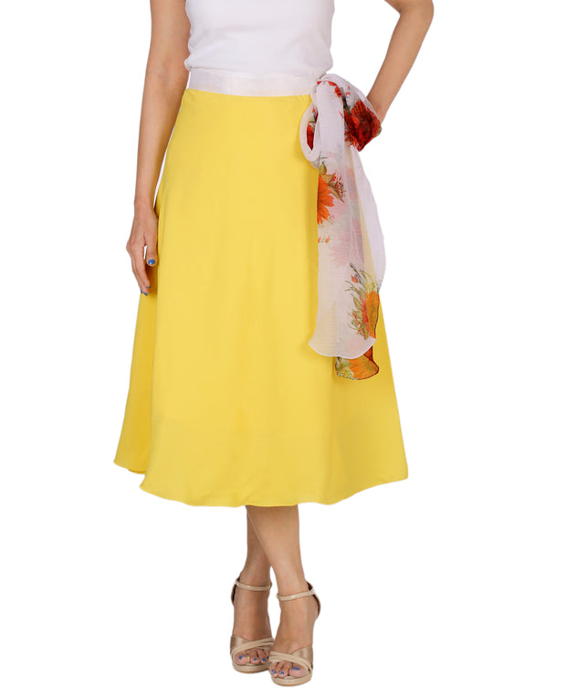 DeeVineeTi Women's Crepe Yellow Solid Beach Wrap-Around Skirt WA000168 Freesize Mid-Calf