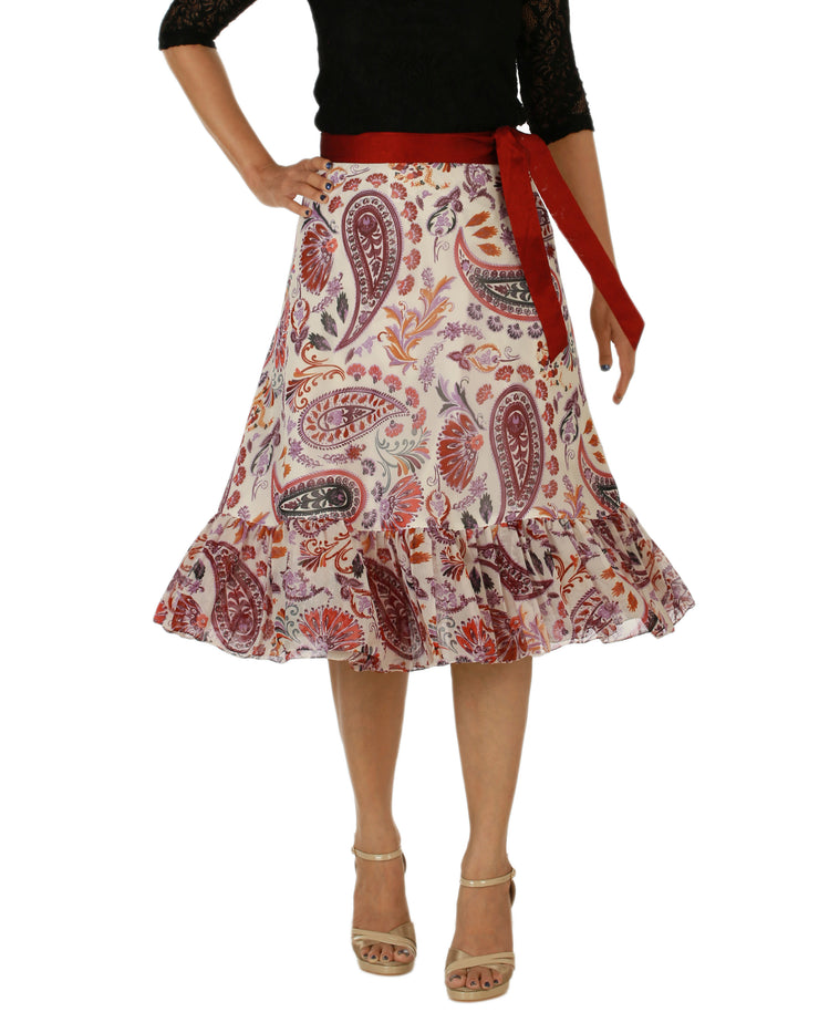 DeeVineeTi Women's Faux Georgette Multicolor Paisley Printed Ruffle Wrap Around Skirt WA000158 Freesize Knee Length Front