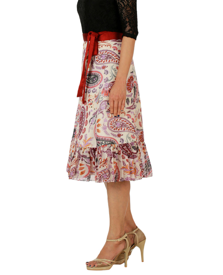 DeeVineeTi Women's Faux Georgette Multicolor Paisley Printed Ruffle Wrap Around Skirt WA000158 Freesize Knee Length Left