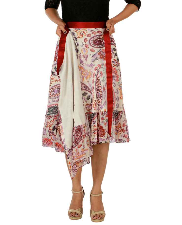 DeeVineeTi Women's Faux Georgette Multicolor Paisley Printed Ruffle Wrap Around Skirt WA000158 Freesize Knee Length Lined
