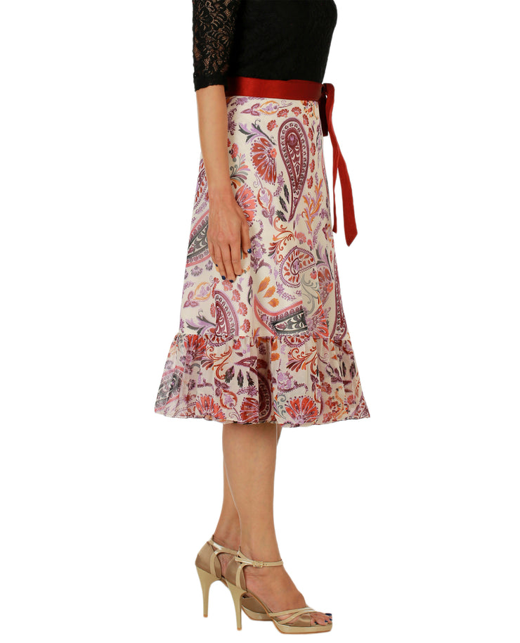 DeeVineeTi Women's Faux Georgette Multicolor Paisley Printed Ruffle Wrap Around Skirt WA000158 Freesize Knee Length Right