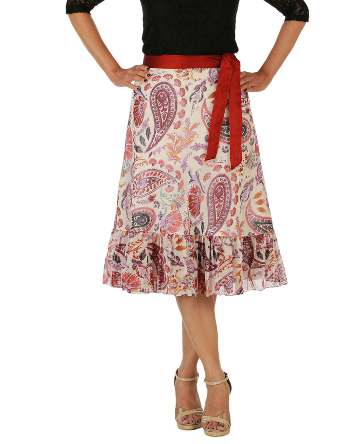 DeeVineeTi Women's Faux Georgette Multicolor Paisley Printed Ruffle Wrap Around Skirt WA000158 Freesize Knee Length