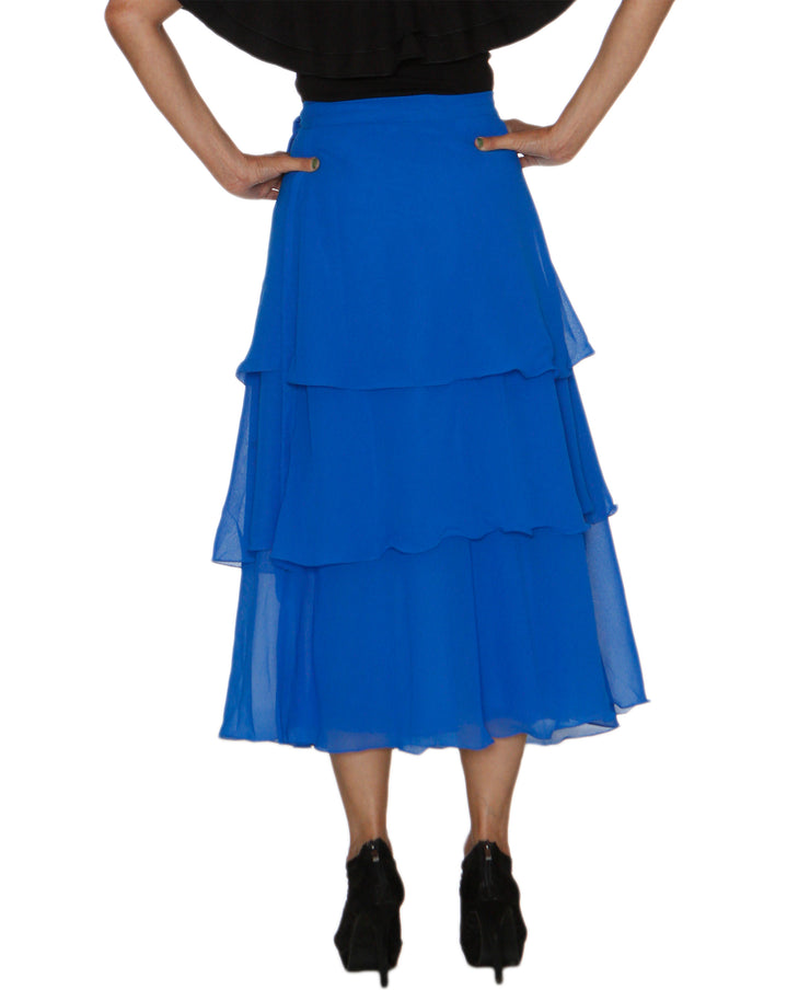 DeeVineeTi Women's Georgette Blue Solid Layered Wrap Around Skirt WA000213 Freesize Mid Calf Tiered Skirt Back