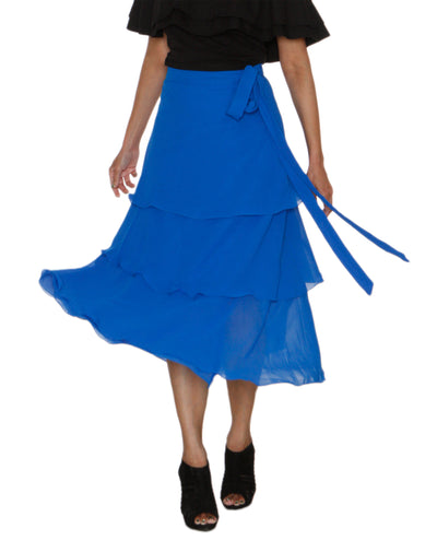 DeeVineeTi Women's Georgette Blue Solid Layered Wrap Around Skirt WA000213 Freesize Mid Calf Tiered Skirt Front