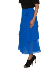 DeeVineeTi Women's Georgette Blue Solid Layered Wrap Around Skirt WA000213 Freesize Mid Calf Tiered Skirt Left
