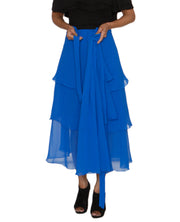 DeeVineeTi Women's Georgette Blue Solid Layered Wrap Around Skirt WA000213 Freesize Mid Calf Tiered Skirt Lined