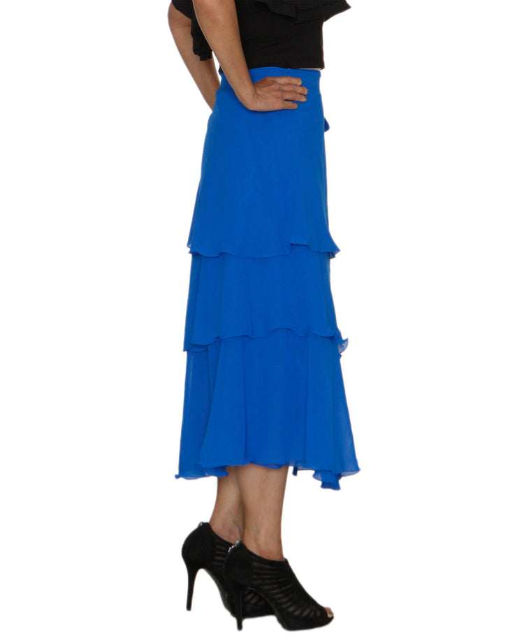 DeeVineeTi Women's Georgette Blue Solid Layered Wrap Around Skirt WA000213 Freesize Mid Calf Tiered Skirt Right