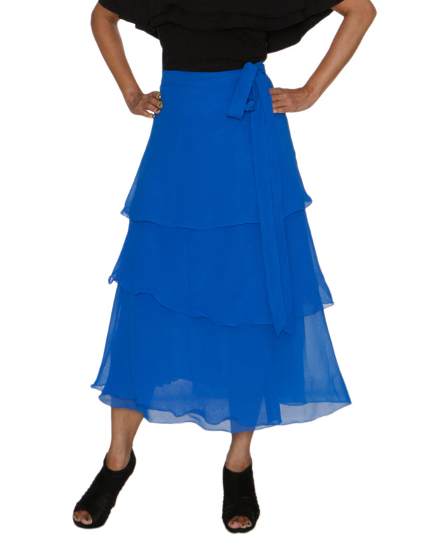 DeeVineeTi Women's Georgette Blue Solid Layered Wrap Around Skirt WA000213 Freesize Mid Calf Tiered Skirt