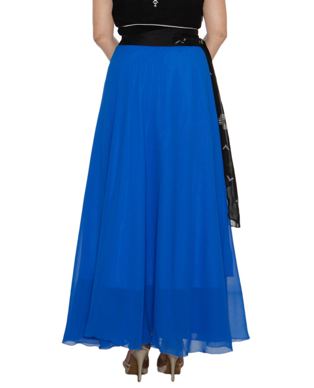 DeeVineeTi Women's Georgette Blue Solid Maxi Wrap-Around Skirt WA000194 FreeSize Full Circle Back