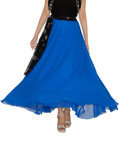 DeeVineeTi Women's Georgette Blue Solid Maxi Wrap-Around Skirt WA000194 FreeSize Full Circle Front