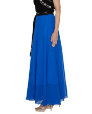 DeeVineeTi Women's Georgette Blue Solid Maxi Wrap-Around Skirt WA000194 FreeSize Full Circle Left