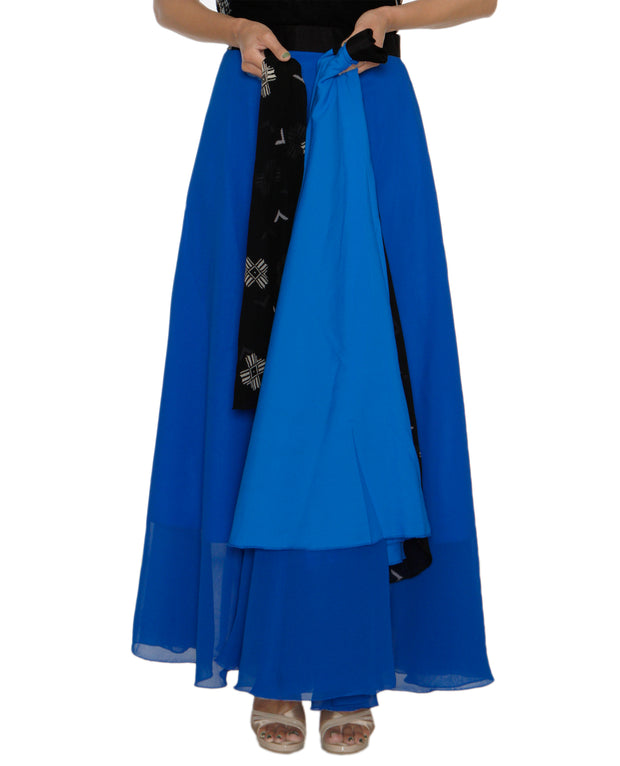 DeeVineeTi Women's Georgette Blue Solid Maxi Wrap-Around Skirt WA000194 FreeSize Full Circle Lined