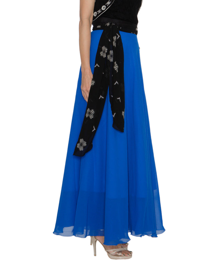 DeeVineeTi Women's Georgette Blue Solid Maxi Wrap-Around Skirt WA000194 FreeSize Full Circle Right