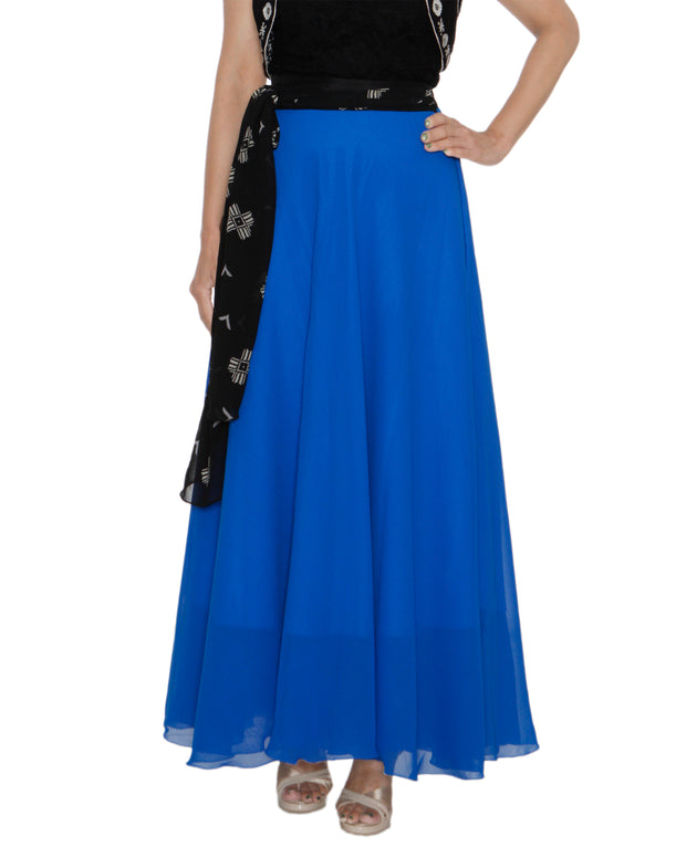 DeeVineeTi Women's Georgette Blue Solid Maxi Wrap-Around Skirt WA000194 FreeSize Full Circle