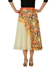 DeeVineeTi Women's Georgette Cream Floral Printed Wrap-Around Skirt WA000152 Freesize Mid-Calf Back