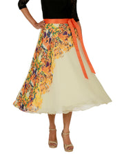 DeeVineeTi Women's Georgette Cream Floral Printed Wrap-Around Skirt WA000152 Freesize Mid-Calf Front