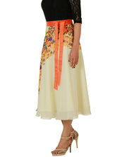DeeVineeTi Women's Georgette Cream Floral Printed Wrap-Around Skirt WA000152 Freesize Mid-Calf Left