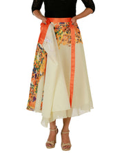 DeeVineeTi Women's Georgette Cream Floral Printed Wrap-Around Skirt WA000152 Freesize Mid-Calf Lined