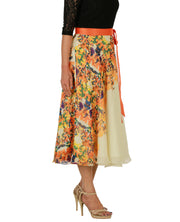 DeeVineeTi Women's Georgette Cream Floral Printed Wrap-Around Skirt WA000152 Freesize Mid-Calf Right