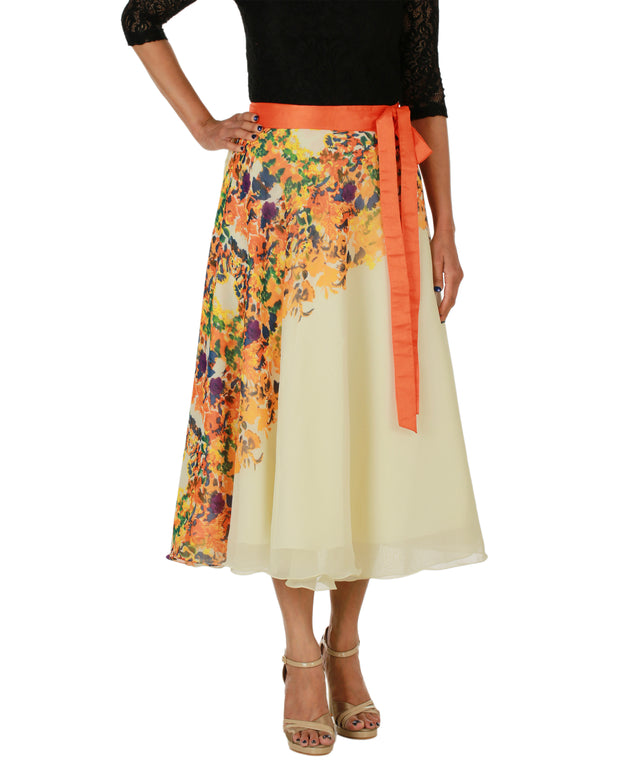 DeeVineeTi Women's Georgette Cream Floral Printed Wrap-Around Skirt WA000152 Freesize Mid-Calf