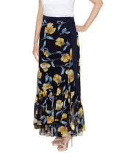 DeeVineeTi Women's Georgette Dark Blue Floral Printed Ruffle Long Wrap-Around Skirt WA000207 FreeSize Ankle Length Front