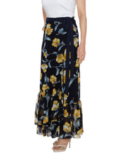 DeeVineeTi Women's Georgette Dark Blue Floral Printed Ruffle Long Wrap-Around Skirt WA000207 FreeSize Ankle Length Left