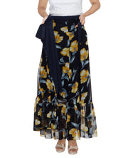 DeeVineeTi Women's Georgette Dark Blue Floral Printed Ruffle Long Wrap-Around Skirt WA000207 FreeSize Ankle Length Lined
